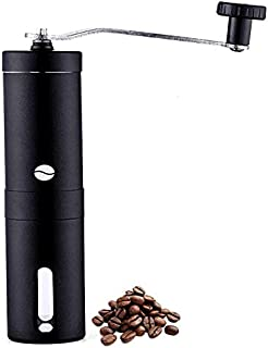 Manual Coffee Grinder in Black Stainless Steel, Conical Burr Mill