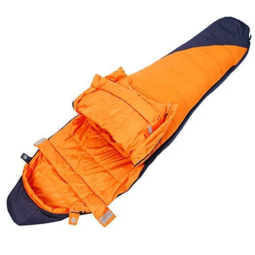 QFFL shuidai Sac de Couchage Momie/Sac de Couchage en Duvet/Splicable / Adulte Sac de Couchage d'hiver en Plein air Sac de Compression Orange 220 * 80 (55) cm