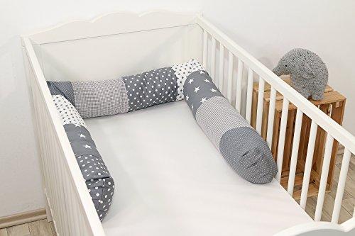 Baby Nestschlange | Made in EU | ÖkoTex 100 | Schadstoffgeprüft | Antiallergisch | Baby Bettumrandung | Bettschlange | Graue Sterne | 200 x 13 cm | ULLENBOOM ®