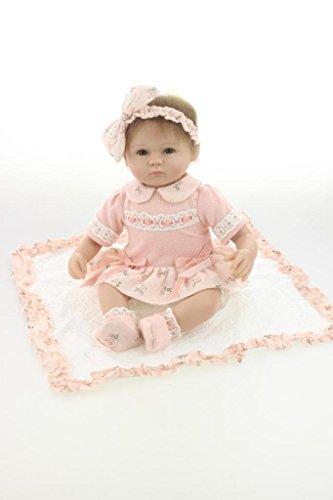 Nicery Renacido de la Reborn muñeca de Silicona Suave 18inch 45cm magnetica Precioso Realista Lindo de la Muchacha del Juguete Rosado Headwear Ojos Abiertos Reborn Baby Reborn Doll