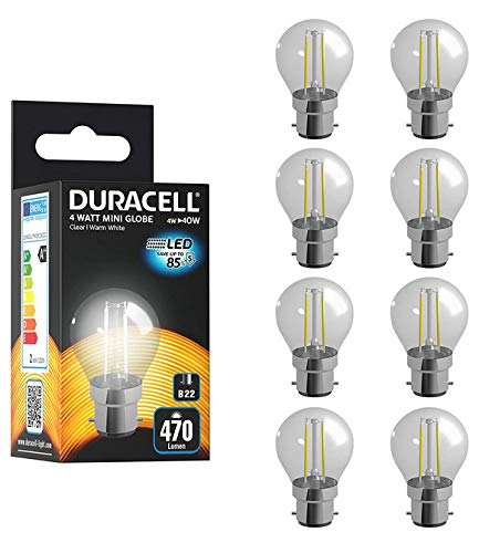 Duracell Bombillas LED B22 con filamento transparente, 6 W (40 W), 250 lúmenes, luz blanca cálida, 8 unidades