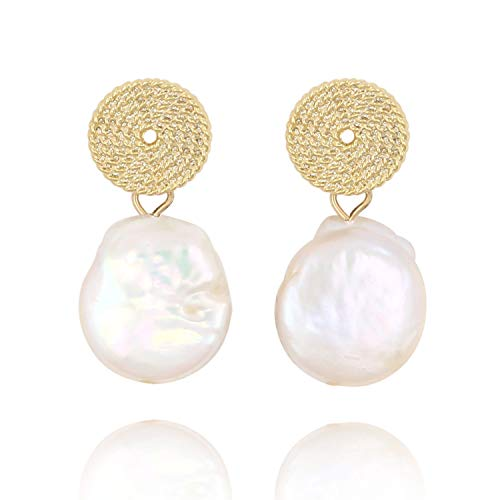 Pearl Pendant Earrings Large Coin Cultured Freshwater Drop Dangle Pearls in Cream White-14K Gold Plated Statement