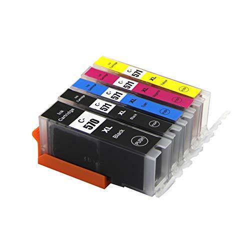 Abakoo PGI-570 CLI-571 - Cartuchos de repuesto para Canon MG5750, MG5751, MG5752, MG6850, MG6851, MG6852, TS5000, TS5050, TS5051, TS5055, TS5150, TS6050 y TS605151515151 Impresora con chip, 5 colores.