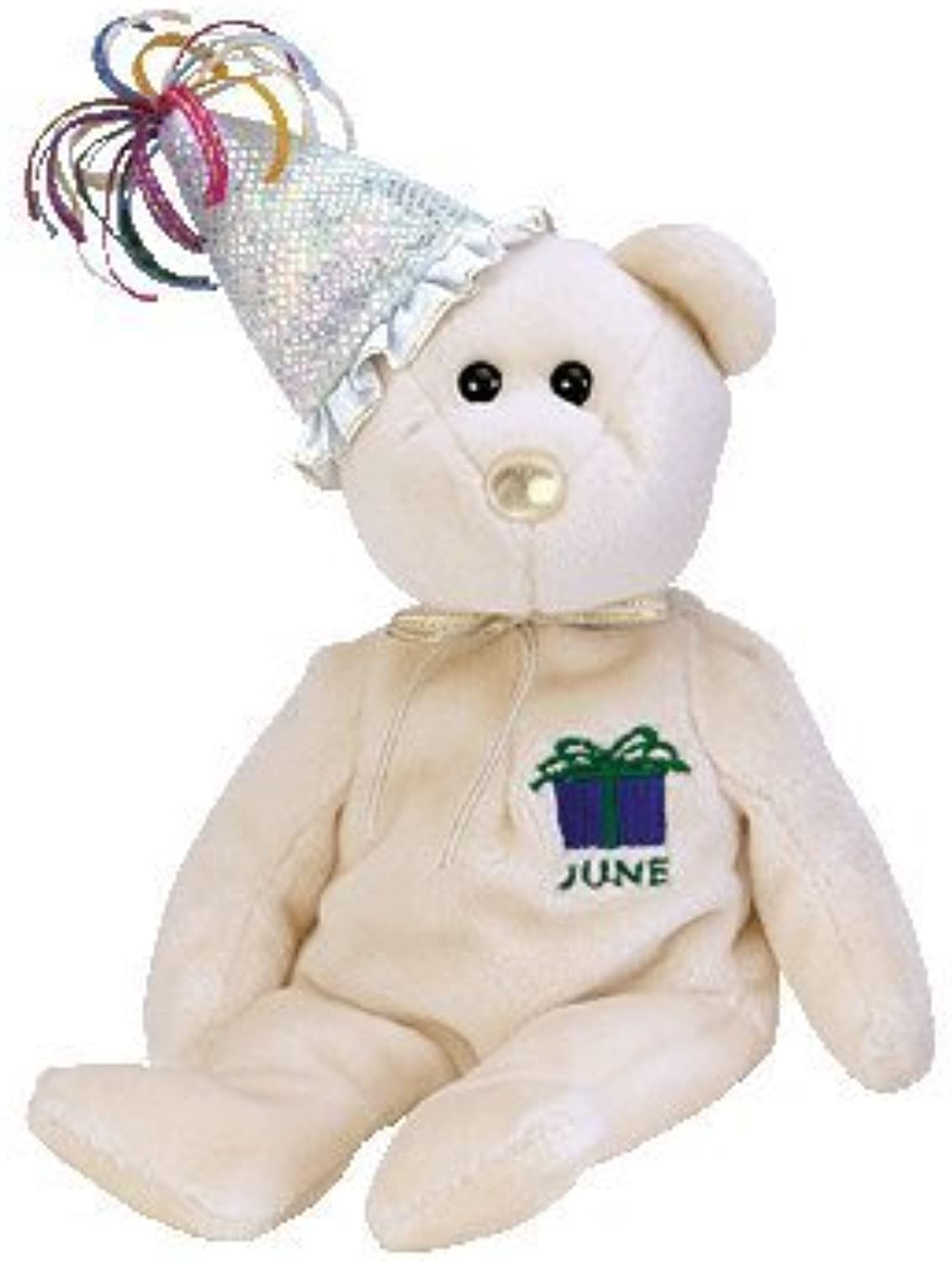 TY Beanie Baby June the Birthday Bear with Hat
