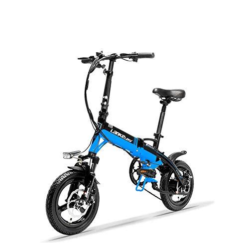 LANKELEISI A6 versteckte Batterie Mini Portable Faltung E Bike, 14 Zoll, Scheibenbremse, Magnesium-Legierung Felge, hohe Qualität (Schwarz Blau, Plus 1 Ersatzbatterie)