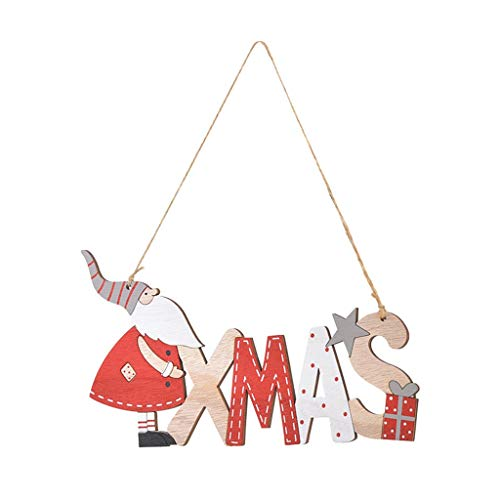 New Santa Letter Hemp Rope Hanging Door Christmas Tree Wooden Pendant Decoration