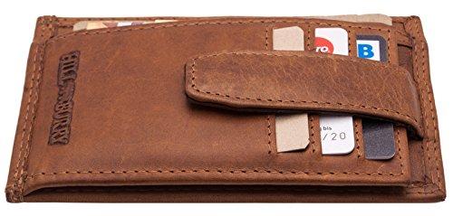 Hill Burry Portamonete | Porta Moneta - Portafoglio | Porta Carta di Credito per Donna Uomo | Portafogli sottile in vera pelle di qualità | Porta Banconote - Porta Biglietti Minimalista (Marrone)