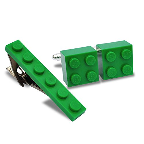 SJP Cufflinks LEGO® Manschettenknöpfe und Krawatte Clip Set (grün) Hochzeit, Groom, Herren Geschenk