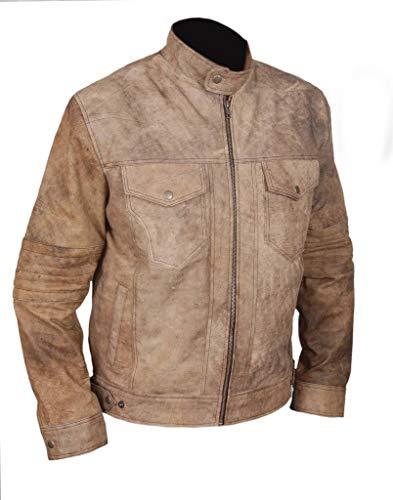 F&H Men's Genuine Leather Distressed Finish Cafe Racer Biker Jacket 2XL Brown