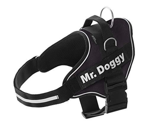 Arnés Personalizado para Perros - Reflectante - Incluye 2 Etiquetas con Nombre - Todos los Tamaños - De Calidad y Resistente (M 12-20KG, Negro)