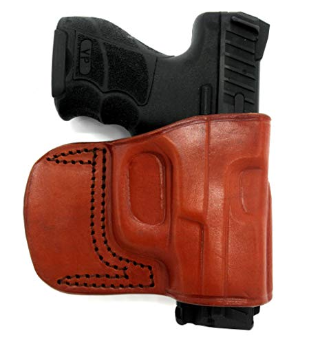 HOLSTERMART USA TAGUA Right Hand OWB Brown Leather Yaqui Style Belt Slide Holster for Heckler & KOCH H&K USP 45, P30, P30SK, P2000, P2000SK, VP9, VP40, VP9SK