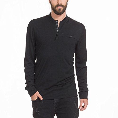 Zugspitze Herren Langarmshirt Schwarz aus Merinowolle - TRISANO - Longsleeve Shirt mit Kleiner Brusttasche & Reißverschluss im Kragen, Funktionsshirt - Größe L