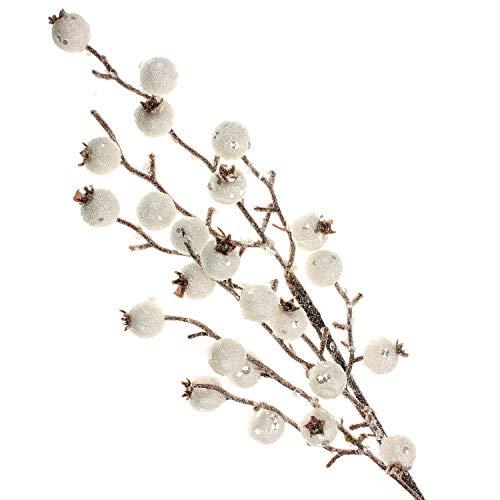 MACOSA WV48636 Beeren-Zweig künstlich Weiss ca. 65 cm lang cm Dekopflanze Kunstpflanze Eisbeeren Zweig Winterdeko Weihnachtsdeko Vasen Frucht Tischdeko