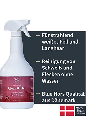 Blue Hors Clean & Dry - für strahlend weißes Fell und Langhaar, Reinigung von Schweiß und Flecken ohne Wasser, Trockenshampoo, perfekt für Abzeichen und Schimmel, Schimmelshampoo, Pferdepflege
