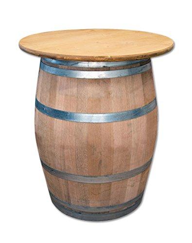 Temesso Tischplatte aus Holz für Weinfass Stehtisch D80 oder D100 cm - Eichenlasur (D80 cm mit Vorbohrung Ink. Schrauben)