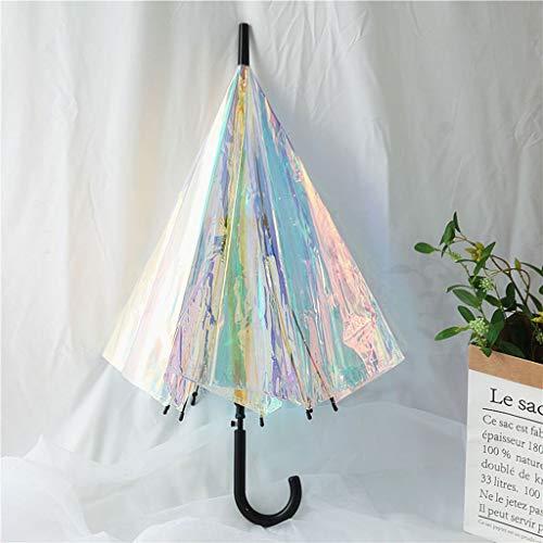 Schirme Transparenter Magischer Regenschirm Farbe Laser Griff Winddicht Schatten Laser Iris Bunter Wetterfester Regenschirm Magische Farbe Langer Griff Regenschirm PVC Transparenter Regenschirm Gerade