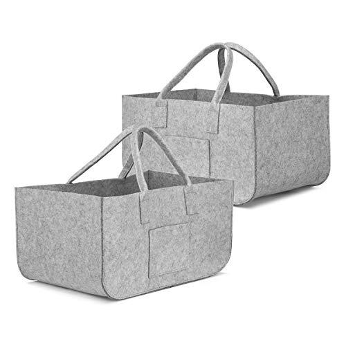 SAWAKE 2Pcs Bolsa de Fieltro Reutilizable, Cesta Fieltro para Leña Plegable Cesta de almacenaje,Bolsa para Compras, Madera, Juguetes, Periódicos, Ropas ——50cm * 25cm * 25cm(Gris)