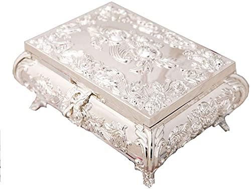Caja de joyería, caja de joyería de señora, caja de joyería retro, caja de joyería tallada creativa, plata contraria al estilo de la joyería, guapo