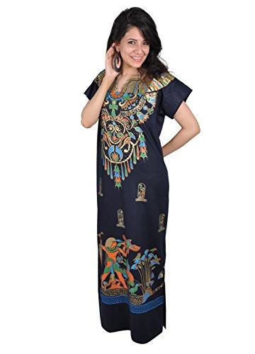 Egypt Bazar Cleopatra Pharao Kostüm Damen-Kaftan Faschingskostüm Karnevalskostüm Ägypterin dunkelblau (XL (48-50))