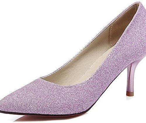 Ggx femme Chaussures PU été Bout Pointu talons Bureau & carrière décontracté Stiletto Talon à paillettes Bleu violet argent
