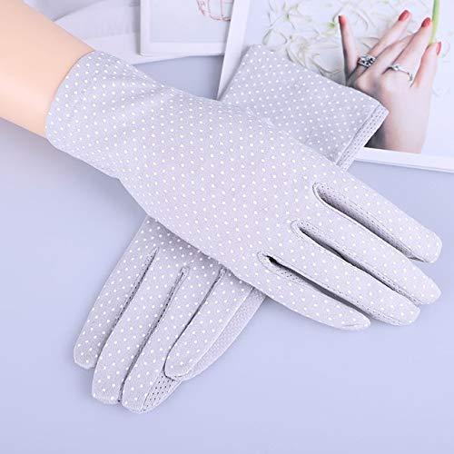Guantes de algodón de Verano para Mujer a la Moda, Guantes de conducción con Pantalla táctil UV de Punto de impresión de Color sólido, Transpirable, Antideslizante, para Mujer-Dot Gray