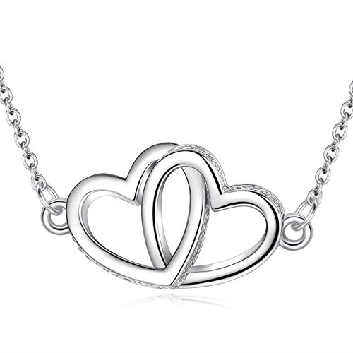 CELESTIA 925 Sterling Silver Two Hearts Pendant Necklace for Girls Women, Fine Jewellery Gift for Mother Wife Girlfriends