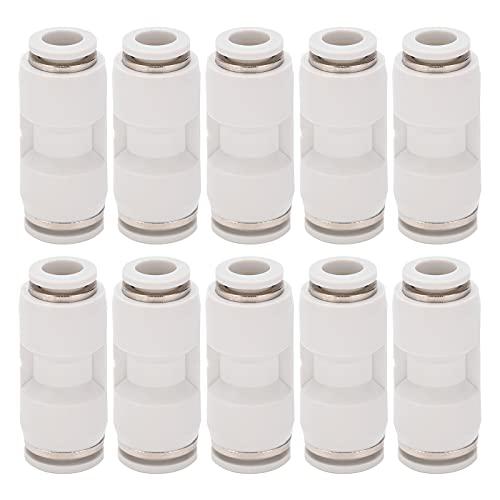Conector reductor recto de 10 piezas, racores de tubo reductor de manguera de aire neumática de liberación rápida, blanco(PG12-8)