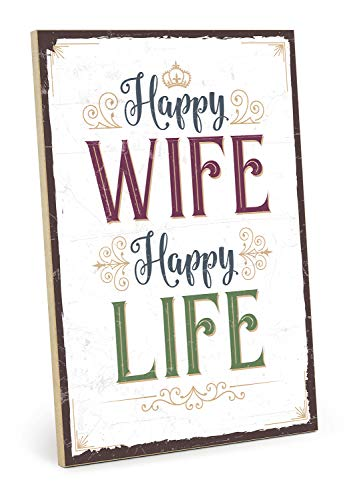 TypeStoff Holzschild mit Spruch – Happy Wife, Happy Life – im Vintage-Look mit Zitat als Geschenk und Dekoration (Größe: 19,5 x 28,2 cm)