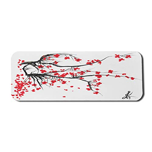 Ambesonne Nature Computer Mouse Pad, Sakura Blossom Japanese Cherry Tree Garden Summertime Vintage Cultural Print, Rectangle Non-Slip Rubber Mousepad Large, 31' x 12' Gaming Size, Grey Vermilion
