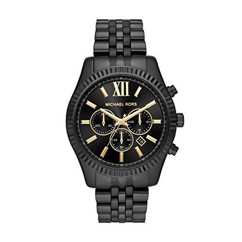 Michael Kors Men's Lexington Analog-Quartz Watch with Stainless-Steel Strap, Black, 22 (Model: MK8603)