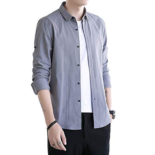 Camisas de Corte Entallado para Hombre Camisas Transpirables de Confort de algodón básico clásico de Color sólido Camisas de Manga Larga de un Solo Pecho Large