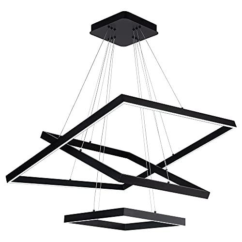 SUNMOO Led Chandelier 3 Rings Square Modern Led Pendant Lighting Dimmable Ceiling Pendant Light for...