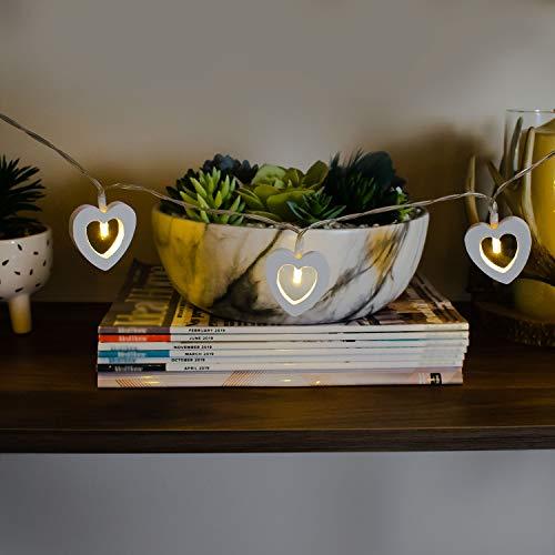 Guirnalda de luces de corazón de madera premium – funciona con pilas – 10 LED de color blanco cálido