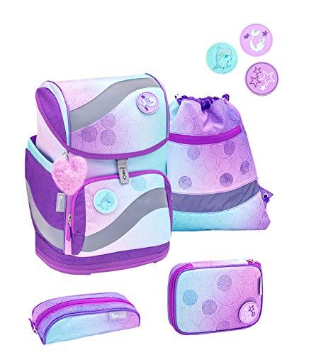 Belmil ergonomischer Schulrucksack Schulranzen Set 5 -teilig für Mädchen 1-4 Klasse Grundschule mit Patch Set/Brustgurt, Hüftgurt/Magnetverschluss/Türkis, Lila (405-51 Wonder)