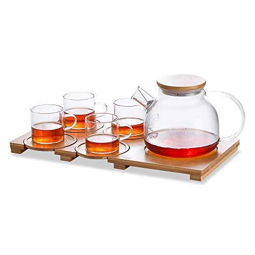 Teeservice Tee Set 1000ml Teekanne Glas mit Filter Auslauf, Bambus Deckel und Tablett, 4 Teetassen Glas mit Griff und Untertassen 150ml, Teekanne Tassen Set für Losen Tees,Früchtetee, Blumentee