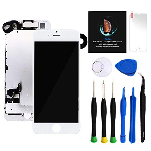 for iPhone 7 Plus Screen Replacement Kit White 5.5' LCD Display for iPhone 7 Plus Replacement Touch Screen Digitizer Full Assembly + Front Camera + Earpiece + Repair Tools + Screen Protector (White)
