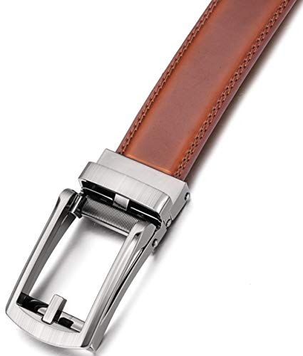 Marino Men's Genuine Leather Ratchet Dress Belt with Open Linxx Buckle, Enclosed in an Elegant Gift Box – Burnt Umber – Style 37 – Custom: Up to 44″ Waist