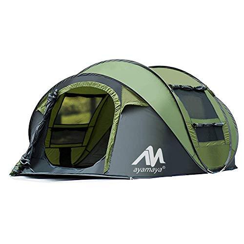 AYAMAYA Camping Zelt 3-4 Personen Pop up Zelte, Outdoor Wurfzelt [2 Türen] Automatische Große Familie Camping Zelt Shelter mit Tragetasche für Sport Backpacking Picknick Wandern Reisen Strand (Grün)