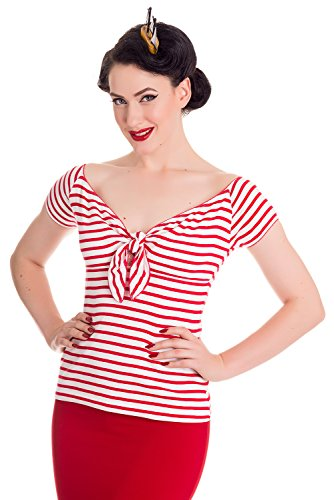 Hell Bunny Dolly Rockabilly 50er Jahre Bardot Bluse Top - Rot (S - 36)