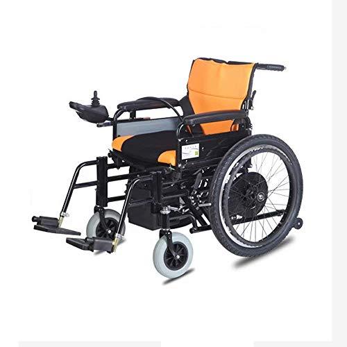 ZHANGYY Leichter zusammenklappbarer Rollstuhl Elektrischer Handschub + Elektrischer Multifunktionsgurt, Sicherheitsgurt + Kippschutz 250W/2 Motor Intelligenter Joystick