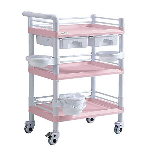Carro médico rosa de 3 niveles para laboratorio / instrumento de tratamiento, carro de belleza con ruedas para equipo con cubeta para suciedad y 2 cajones, carro de cuidado móvil (tamaño: 65x4