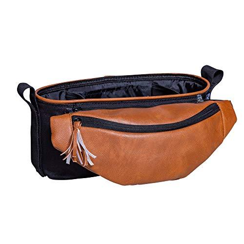 J.L. Bandeja organizadora universal para carrinho de bebê Childress com pochete de quadril removível, bolsa de cintura para cinto, suportes para copo profundo, armazenamento para celular, preto/camelo