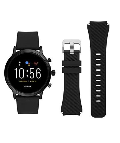 Classic Silicone Replacement Smart Watch Band 22mm, for Fossil Men Gen 5 Carlyle/Women Gen 5 Julianna/Fossil Q Explorist HR Gen 4 Gen 3 Wander Marshal Gen 2 Smartwatch Band Strap 22mm - Black