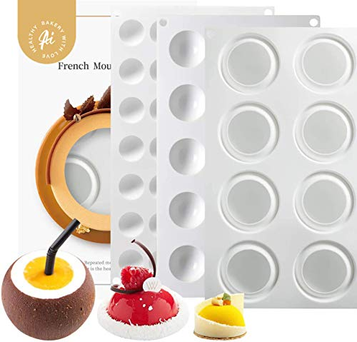 AICHEF Dessert Mousse Cake French Mousse Molds White Silicone Gel Molds.Household High Temperature Pastry Mousse Mould.(White Semi Cylindrical Silicone Gel Molds Set).