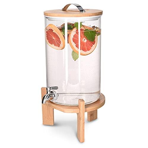 Navaris Dispensador de Bebidas de Cristal - Botella con Grifo Soporte y Tapa de Madera para Bebida Caliente o fría - Garrafa de Agua de 7 L - Sin BPA