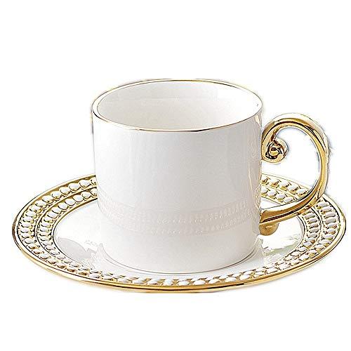 Tasse Becher Cafe 80ml Gold Doppelperlen Tasse und Untertasse Set Europäische Keramik Kaffeetasse Hotel Clubhaus Kaffeetasse Perlmutt Tasse und Untertasse S 80ml