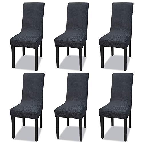 Universal Stretch Stuhlhusse 35-50 cm Stuhlbezug Hussen Abnehmbare Stuhlbezug für Stuhl Esszimmer Husse Hotel Party Bankett (Wasserdicht 6er Set, Anthrazit)
