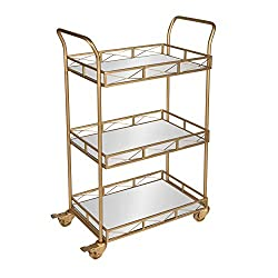 commercial Kate and Laurel Ketia bar counters, metal and mirror trays, 3 shelves, kitchen, utility truck, gold globe home bar