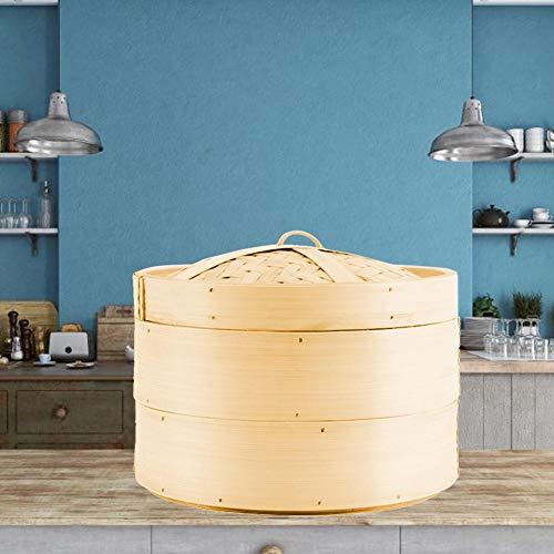 Bamboedemper, stoommand, stoominzet met 2 niveaus, en een kookgerei voor de keuken 7 Zoll bruin