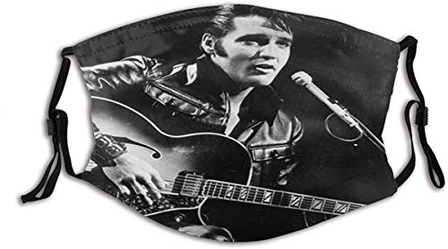 KP Hot Cartoon The Superstar Elvis Presley Hold The Guitar Black and White Photograph Unisex Washable and Reusable Cotton Warm Face Protection for Outdoor-one_color-one_color-